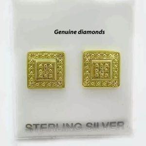 GENUINE DIAMOND STUD EARRINGS .925 Sterling Silver